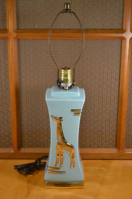 Vintage Mid Century Modern 1950's Ceramic Pottery Lamp with Giraffe on Front