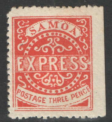 Samoa - SG11 3d Vermilion. 3rd State (Repaired Line). Perf 12.5. Mounted mint.