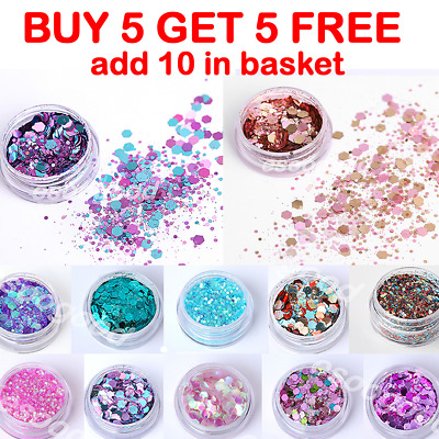 Chunky Mixed Glitter Pots Nail Face Eye Body Tattoo Festival Dance Club Cosmetic