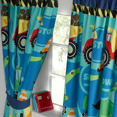 "CONSTRUCTION TIME TRUCKS DIGGERS 66"" x 54"" FULLY LINED CURTAINS + TIE-BACKS BOYS"