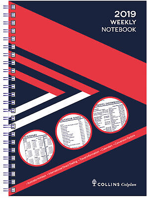 Diary 2019 Collins Colplan Weekly Notebook A4 Week to Page Wiro Bound