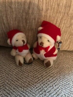 1 x Small Christmas Teddy Bears Jointed Key Ring Charms Santa Stocking Fillers
