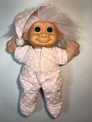 Vintage 1990's Russ Troll Soft Bodied Plush 25cm Pink One Piece Pyjamas Nightcap