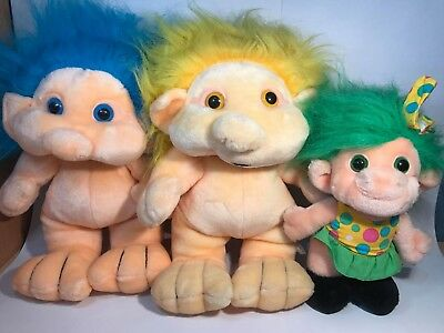Vintage Plush Troll Lot x3 1990's blue yellow green hair soft toy Lemonwood Asia