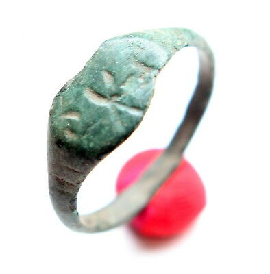 Ancient Old Bronze Runic Ornament Ring (MAY01)