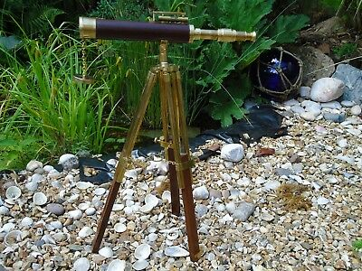 Brass & Leather Nautical Telescope & Stand With Level For Table Antique Style
