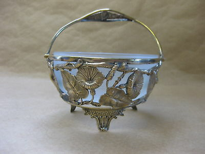 Antique Frosted Glass Sugar Bowl with Silver? Holder ~ Convulvulus ~Marked