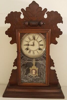 "Antique Working 1870's Waterbury ""Fenwick"" Victorian Walnut Parlor Mantel Clock"