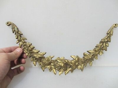 Antique Brass Ormolu Hardware Mount Gilt Victorian Georgian Floral Roses Drape