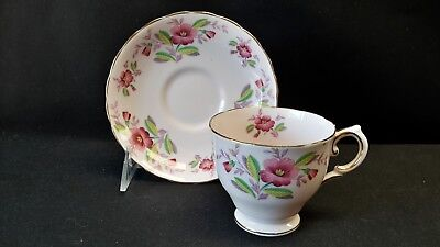 Tuscan England Fine Bone China Flower Pink 4223 Cup & Saucer - AS IS