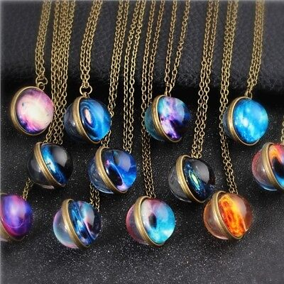 71 Style Solar System Necklace Pendant Planet ,Galaxy S, Double Sided Glass Dome