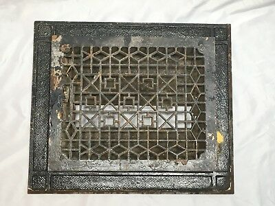 Antique Cast Iron Heat Grate Vent Floor Register Surround 16x19 Old Vtg 429-18E