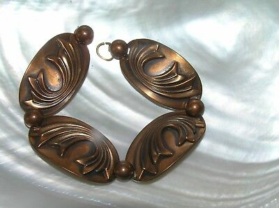 Vintage Solid Copper Oval Link with Swirl Overlay & Alternating Half Bead Brace
