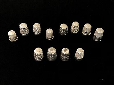 Collection Of 12 Solid Silver Assorted Design Thimbles Inc 4 By Charles Horner