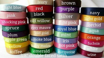 """34 yards-wholesale 3/8"""" DOUBLE FACED SATIN  ribbon lot"""