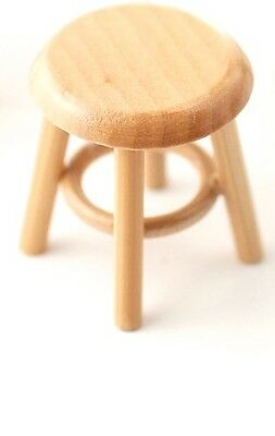 Pine Stool, Dolls House Miniature. Doll house furniture Seating 1/12 scale