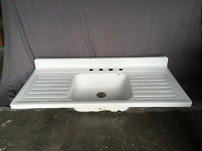 Vtg Mid Century White Porcelain Single Basin Double Drainboard Farm Sink 432-18E