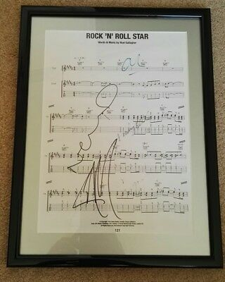 OASIS Rock 'N Roll Star Music Sheet Signed Autograph LIAM NOEL GALLAGHER Framed