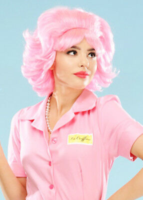 Ladies 1950s Fancy Dress Pink Frenchy Wig