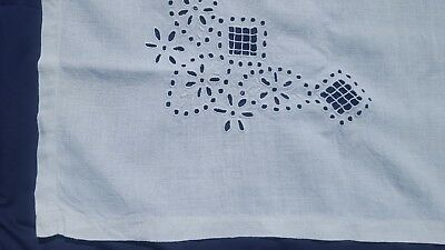 "Vtg. Exquisite Cutwork Needle Embroidered Flax White Linen Tablecloth 48""x 64"""