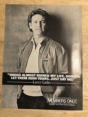LARRY GATLIN for MEMBERS ONLY Ad  - Vintage 1980s Magazine Print Ad Clipping