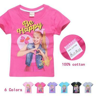 "JoJo Siwa Kids T-shirt  ""Be Happy"" Girls Tee Clothes Top - Size 3 -10"