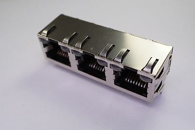 6116132-8 TE Conn Modular Ethernet Connector Jack 8P8C RJ45 Right Angle 3 Ports