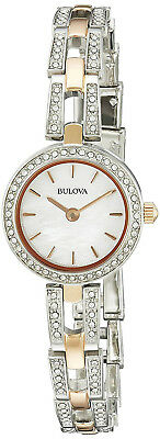 Bulova 98L212 Crystal Mother of Pearl Dial Two Tone Stainless Women's Watch