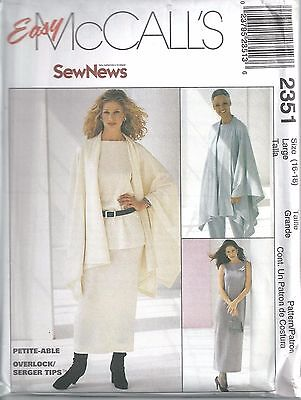 McCall's Sewing Pattern # 2351 Misses Cape Dress Top Pants Skirt Size 16-18