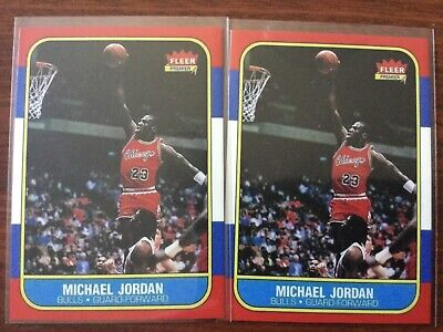 Lot of 2 Fleer Michael Jordan Chicago Bulls Basketball Rookie Card RC Reprint