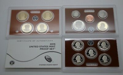 2015 S United States Mint Silver Proof Set - 14 coins w/ Box and COA