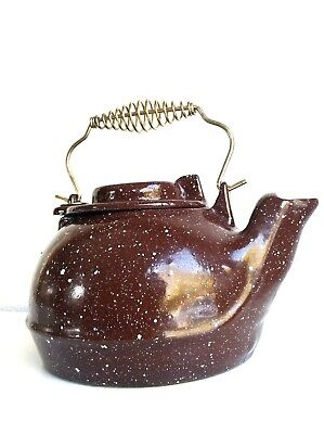 Cast Iron Enamel Steamer Kettle Brown White Vintage