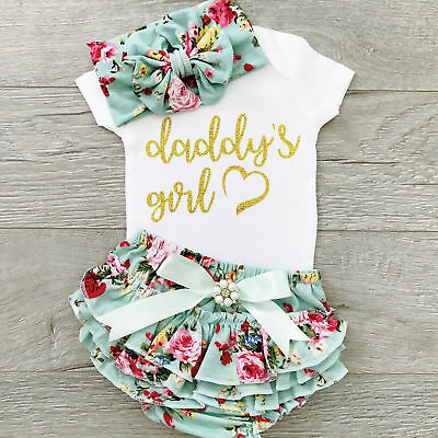 USA Cute Newborn Baby Girls Cotton Tops Romper Floral Pants Outfits Set Clothes