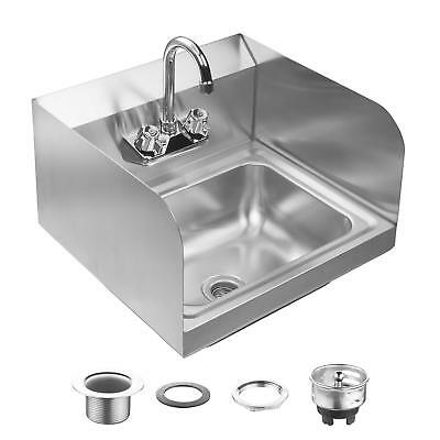 Wall Mount Commercial Kitchen Hand Sink Stainless Steel with Side Splashes