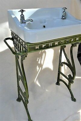Genial Antique Art Nouveau Victorian Enameled Cast Iron Sink Stand Fire Clay  England