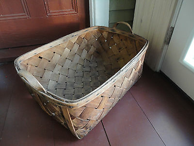 Large PRIMITIVE Maine Native New England Ash Gathering Autumn Harvest Basket