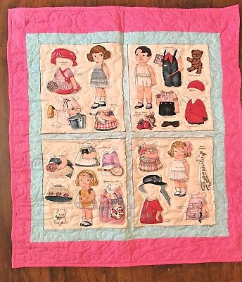 Handmade Paper Doll Themed Quilt For Wall Nursery Vintage Style Crib Pink