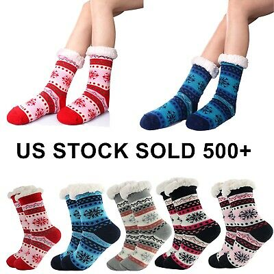 Women Socks Thick Knit Sherpa Lined Thermal Fuzzy Slipper Christmas Gift Sock