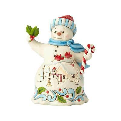 Jim Shore 2018 PINT SIZE SNOWMAN WITH CANDY CANE 6001492 CANDY, HOLLY & JOLLY