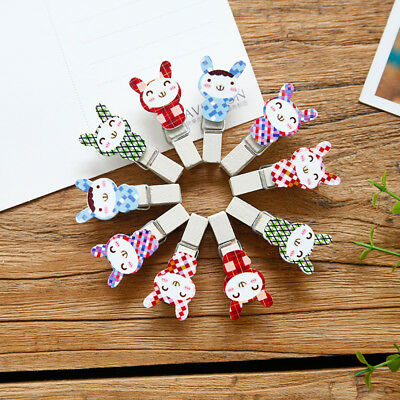 10 Pcs/pack Rabbit Wooden Clips DIY Paper Photo Postcard Craft with Hemp Rope