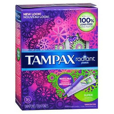 Tampax Radiant Tampons with Plastic Applicators Super A