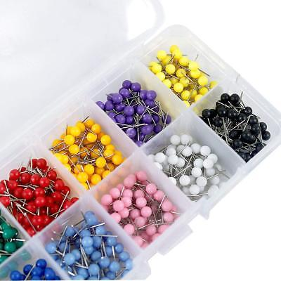 500Pcs Map Push Pins Map Tacks Round Head Tacks w/ Steel Points 10Assorted Color