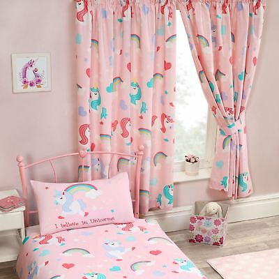 "I BELIEVE IN UNICORNS PINK CURTAINS LINED 66"" x 54"" KIDS GIRLS BEDROOM"