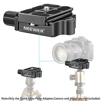 "Neewer Black 1/4"" Quick Shoe Plate Adapter Clamp with 1/4 3/8"" Screw for Camera"