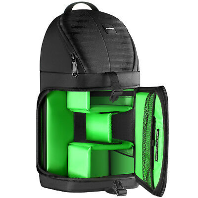 Neewer Black (Green Interior) Waterproof Camera Accessories Case Sling Backpack