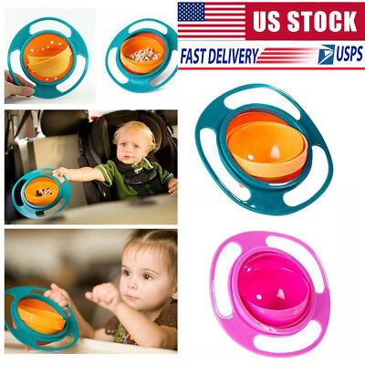 360 Degrees Rotates Spill Proof & No Mess Gyro Universal Bowl For Kids & Infants