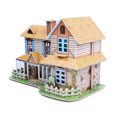 Children DIY Doll House Villa Assembly Puzzle Toy Dollhouse Furnitures Xmas Gift
