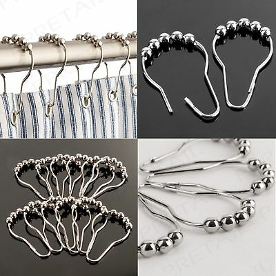 6/10pcs Chrome Plated Ball Bead Easy Glide Shower Metal Curtain Rings Hooks