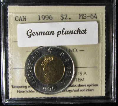 1996 $2 Canada (german planchet)  coin. ICCS graded MS-64 (toonies)