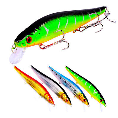 1/5/10/20 Fishing Lure Crankbait Hook Minnow Bait Tackle Crank Perch Pike Zander